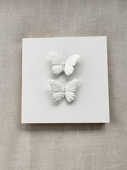 "White Double Butterfly 12""x12"" Square"