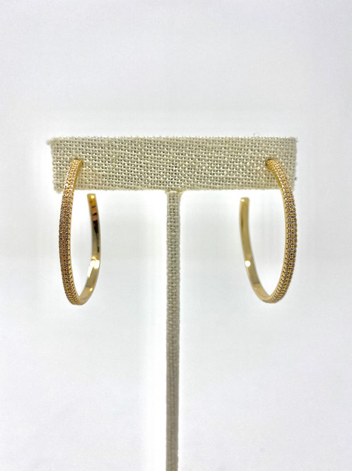 Gold pave hoops- LARGE