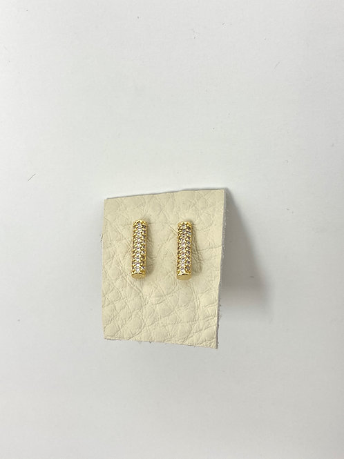 Gold round pave bar studs
