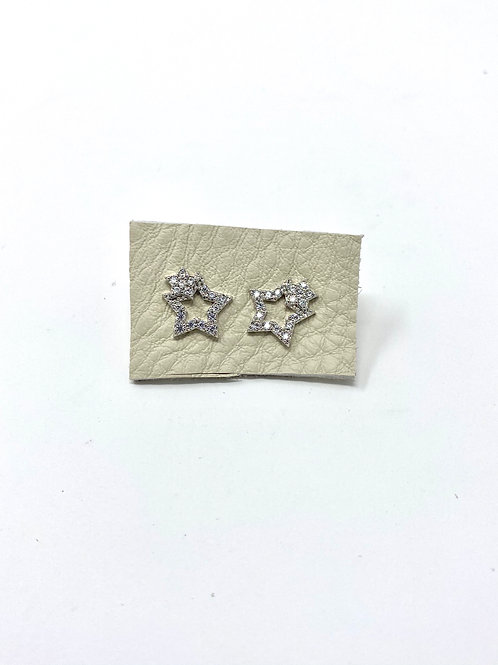 Silver pave double star studs