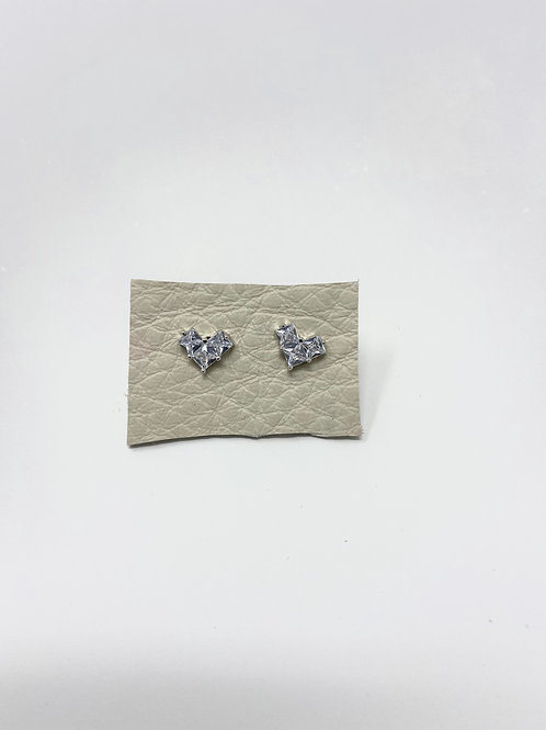 Silver pave heart studs