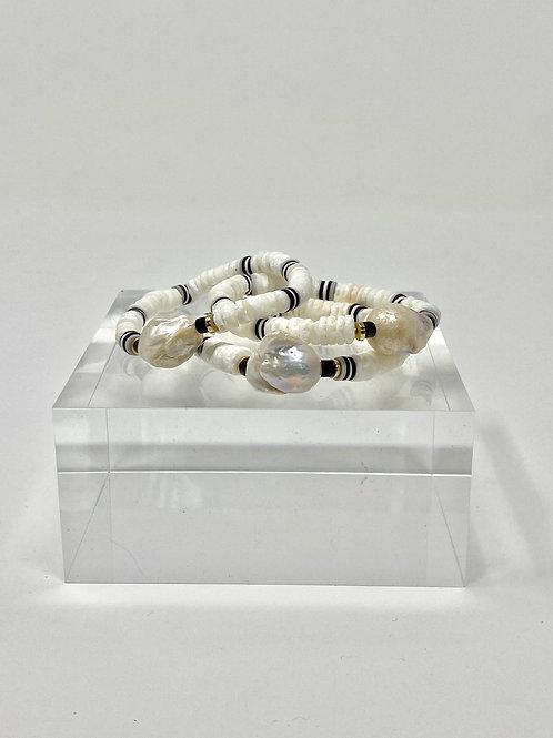 Black + White shell + Pearl bracelet