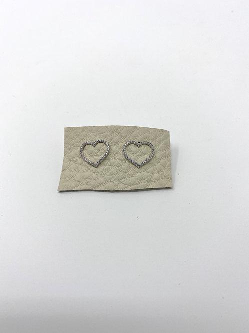 Silve pave open heart studs