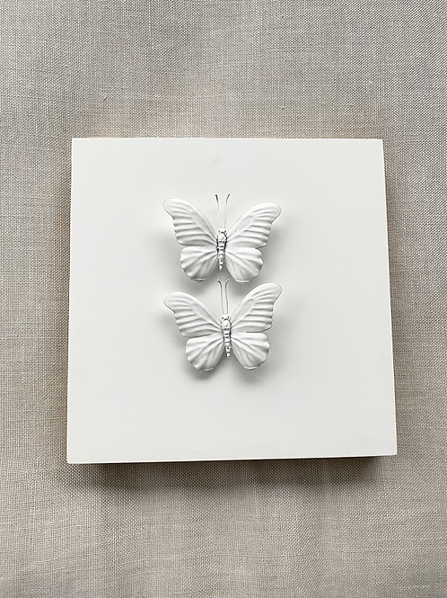 """White Double Butterfly 12""""x12"""" Square"""
