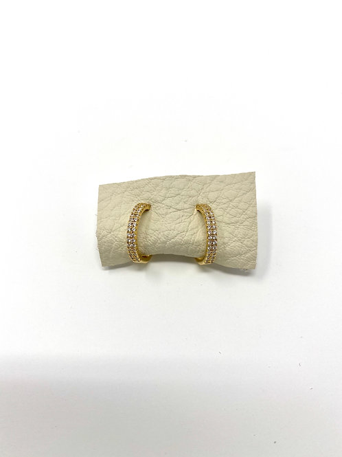Gold pave hoops- MINI