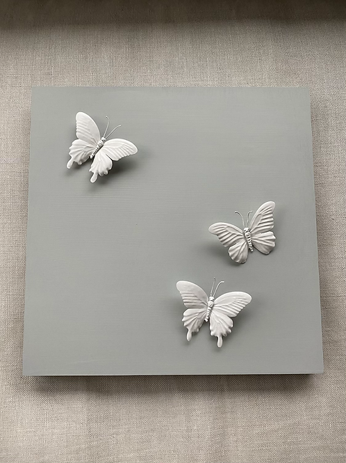 """Grey Butterfly 18""""x18"""" Square"""