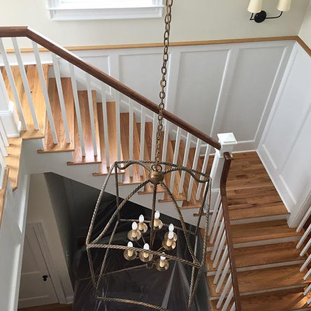 Staircase of installed hardwoods by Clark's Hardwoo Refinishing