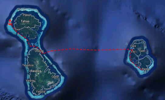 Huahine to Tahaa Map