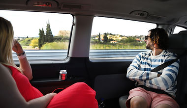 Joe and Stacia Riding in bus to Lefkada.