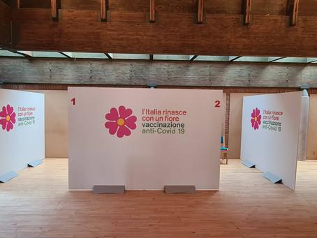 Allestimenti strutturali e segnaletica punti vaccini Covid Ausl Bologna