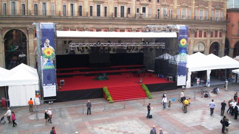palco coperto con gazebo laterali