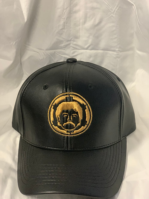 Black and Gold Leather Hat
