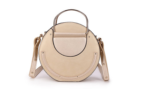 Faux Suede and leather Circular bag in Light Beige.