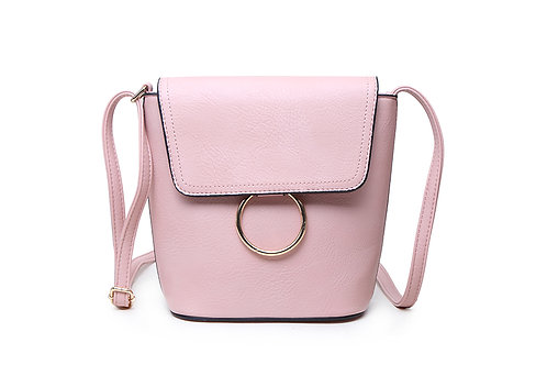 Classic Crossbody bag in soft faux leather in blush pink.