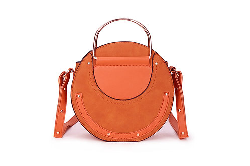 Faux Suede and leather Circular bag in Cool Orange.