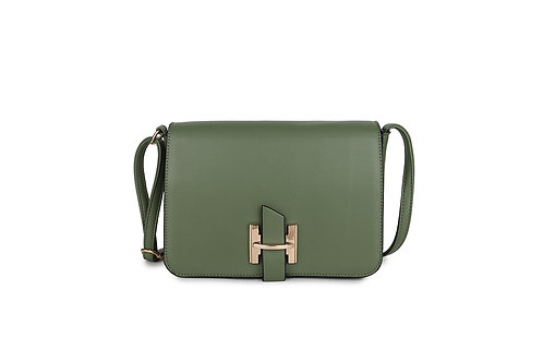 Luxury Faux Leather Cross body bag Gold Logo clasp in Green.
