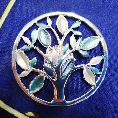Cool magnetic Tree of life brooch with in Blue and Silver .