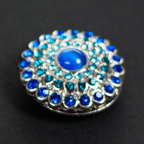 Cool magnetic Flower brooch with in Royal blue and Turquoise.
