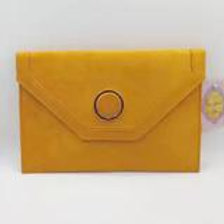 Mustard luxury faux suede evening clutch bag.