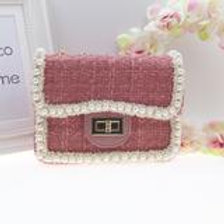 Pink Cute tweed bag with hand and shoulder gold chain.
