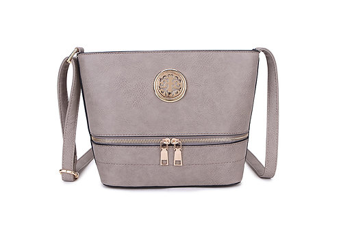 Elegant Designer Faux Leather Shoulder / Crossbody Bag in Pale  Grey.