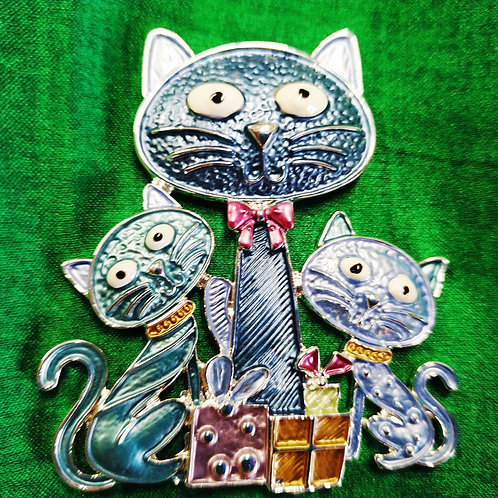 Cool Fun magnetic Cats  Brooch with in  Blue and Teal Enamel.