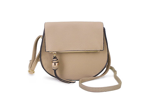Classic Crossbody bag in soft faux leather in Beige.