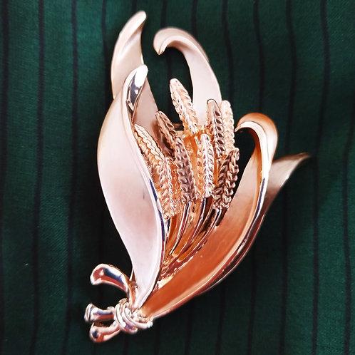 Elegant magnetic Fern Leaf  Brooch with in Rose Gold Enamel.