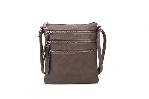 Versatile Crossbody square bag in soft faux leather Dark Grey.