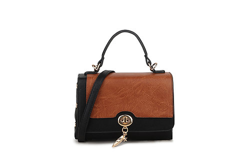 Hollywood Renaissance  box bag in soft faux leather in Black/Brown..