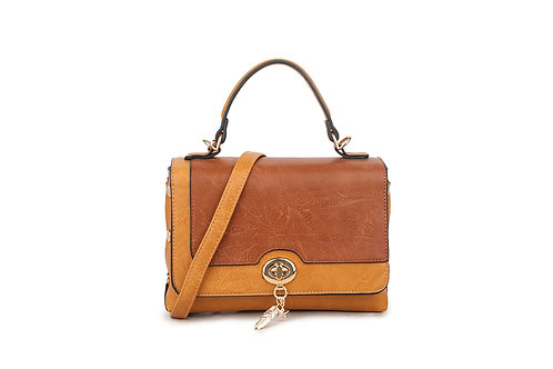 Hollywood Renaissance  box bag in soft faux leather in Orange and Tan.
