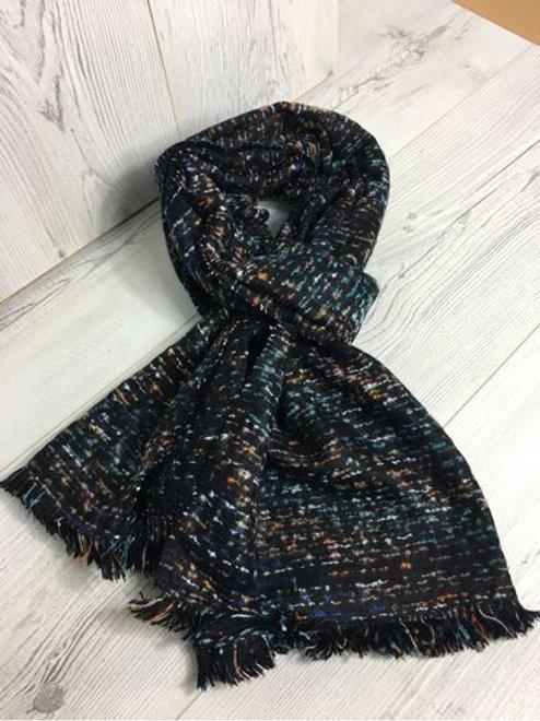Wool Feeling Designer Scarf Dark Navy.