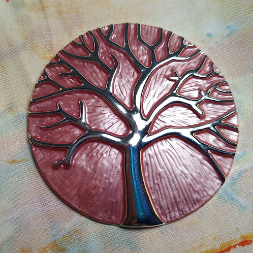 Cool magnetic Tree of life brooch with in Dusty Pink and silver.