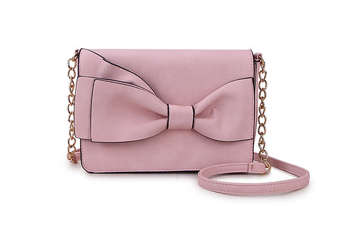 Bow detail Crossbody bag in Faux Leather and colored Blush Pink.