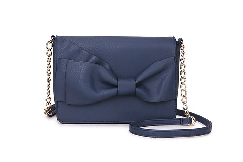 Bow detail Crossbody bag in Faux Leather and colored Blue.