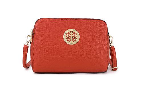 Cool Faux Leather Crossbody bag Gold Logo in Orange.