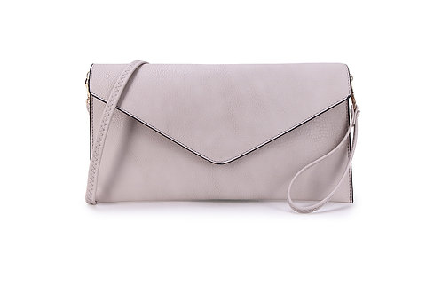Classic Envelope Clutch Cross body or wrist strap. Dove Grey.