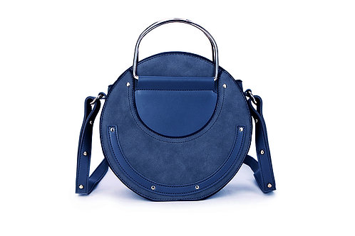 Faux Suede and leather Circular bag in Navy Blue.