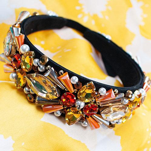 Jewelled headband. Amber and Gold.