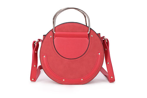 Faux Suede and leather Circular bag in Red.