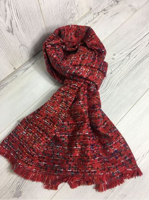 Wool Feeling Designer Scarf Red.