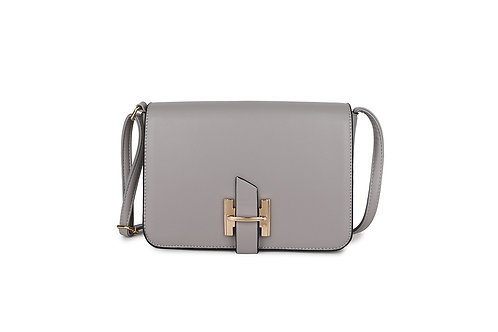 Luxury Faux Leather Cross body bag Gold Logo clasp in Grey.