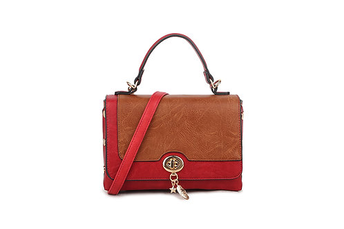 Hollywood Renaissance  box bag in soft faux leather in Red and Brown .