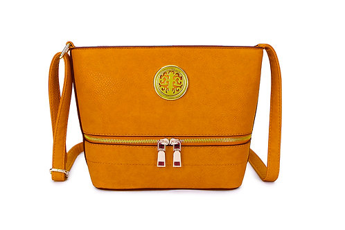 Elegant Designer Faux Leather Shoulder / Crossbody Bag in Mustard.