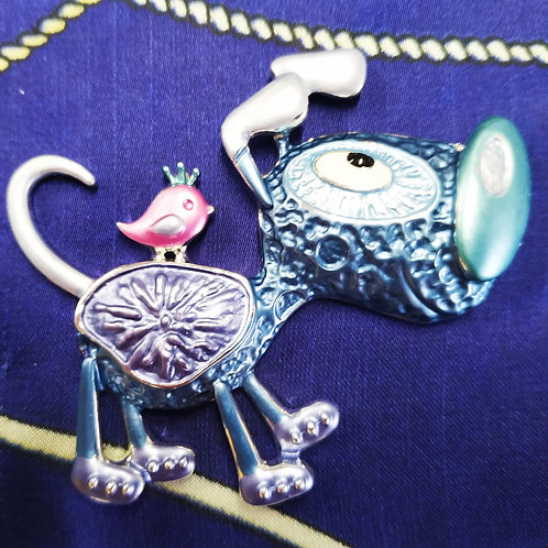 Cool Fun magnetic Dog  Brooch with in Teal and Pink Enamel.