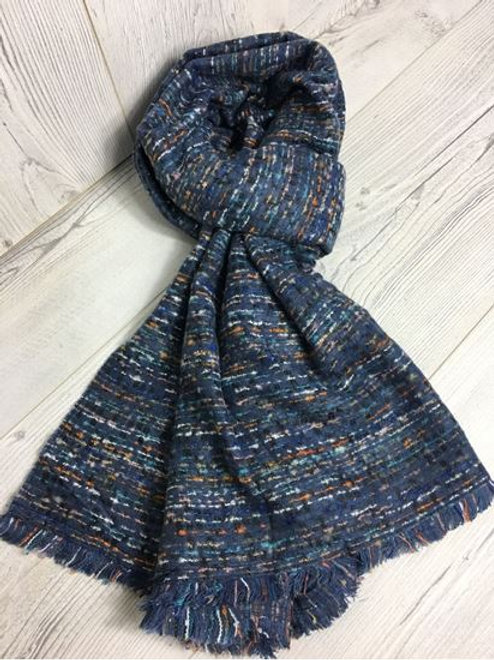 Wool Feeling Designer Scarf Blue.