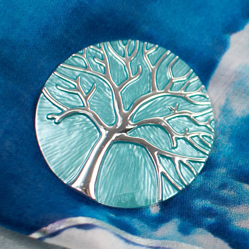 Cool magnetic Tree of life brooch with in Turquoise and silver.