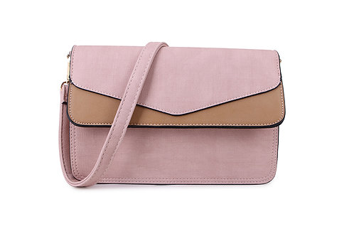 Envelope Cross Body Bag in blush pink and taupe.