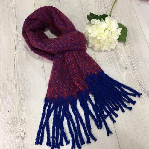 Wool Feeling Designer Scarf Red / Royal Blue Tassels