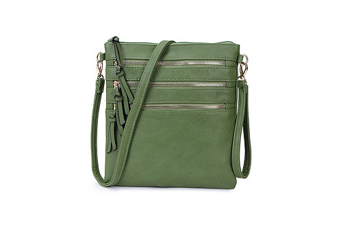 Versatile Crossbody square bag in soft faux Forest Green.